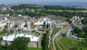 Scottish Parliament from above by bobswin