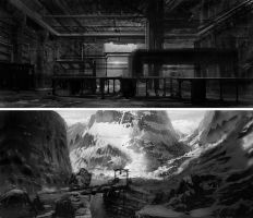b-w environment paintings 7-8 by Lyno3ghe