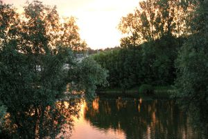 River at sunset by yasminstock