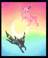 MS Paint Espeon and Umbreon by FinsterlichArt