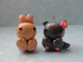 Kawaii Clay Bunny and Cat by CraftyOlivia