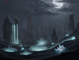 Night Crystals and shiny water under the Moon by Glauqu3