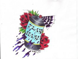 Play Hard Spray Can by Lucky-Cat-Tattoo