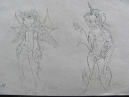 Sayumi and Sestine for Alpine-Dragon-Queen by CiyannKitty