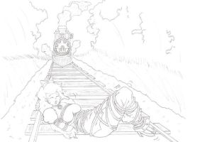 Peach Tied to Train Tracks by JC-DiD