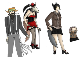 Design trade characters for Cannibalharpy by Femaledragonknight