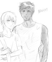Doodle - Kuroko no basket (Aomine and Kise) by yoolin