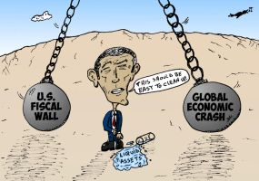 Obama economic wrecking balls cartoon by optionsclickblogart