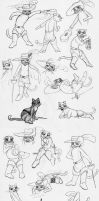 Puss in Boots and Kitty Sketches by psionicbird