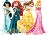 Princess Belle, Aurora,Princess Jasmine And Merida by BeautifPrincessBelle