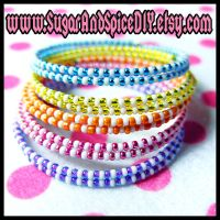 Rainbow Cream Rave Bangle Set by SugarAndSpiceDIY
