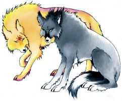 Hati and Skoll .:coloured:. by MistressKeir
