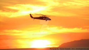 Helicopter In Sunset by RaptorArts