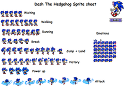 Dash The Hedgehog sprite sheet by MephistaTheDark