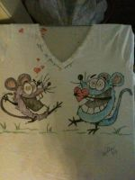 Painted critter rat Valentine shirt by originalwillow