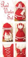Red Winter Lolita Set by DarkMiko37
