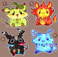 Elemental BunBuns Batch 6 for 2USD! [CLOSED] by melonycreations