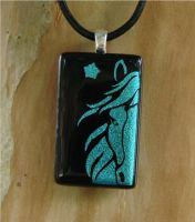 Blue Horse Fused Glass Pendant by FusedElegance