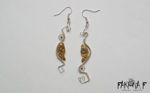 Steampunk Crescent Earrings by faktoria-f