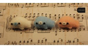 Needle felt Mamegomas (for sale) by FluffyParcel