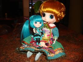 Mini Pullip Miku and Paradise Byul by Gubreez