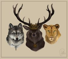 Eddard, Robert, and Cersie by Chipo-H0P3