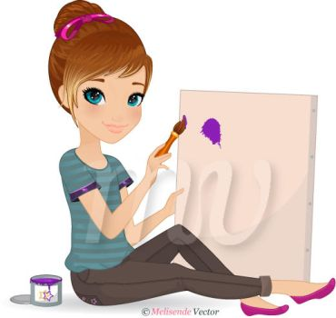 Young Girl Painting by Melisendevector