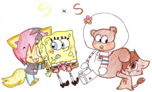 We support Spongebob and Sandy by Wierdo-gurl