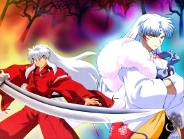 Inuyasha and Sesshoumaru by Yorutsuky-Anne