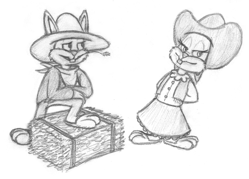SKETCH REQUEST - Ol' Western Babs and Buster by The-Fat-Red-Dragon