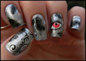 Nail art black swan by cherrynailart