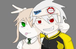 Soul and Maka colored by n00dle-gurl06