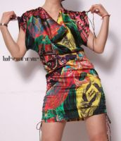 Graphic Silk Satin MiniDress11 by yystudio