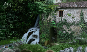 Waterfall and Elf 3D by Lucsdf