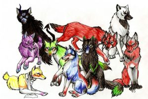 Group of Wolves by Chickenwhite