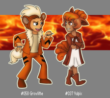 Growlithe and Vulpix Gijinkas by Retaya