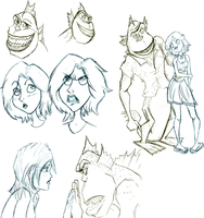 Monsters vs Aliens sketches by Weasley-Detectives