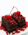 Double Fudge Dark Chocolate Cake with Pomegranate by theresahelmer