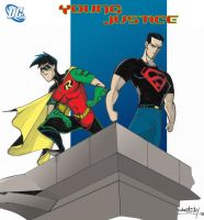 Young Justice colored by the-tracer