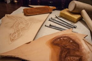 Leather practice and tools by Jlpicard