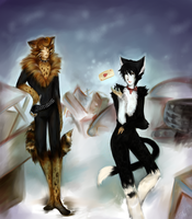 Tugger and Mistoffelees by printscreen-kii