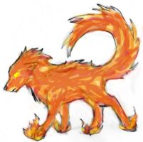 flame wolf colored by lonelycard