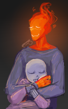 grillby's cuddles are the bst by Fel-Fisk