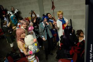 Backstage photo from the cosplay fashion show by JaMs-Yy