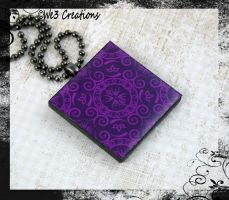 Dark Purple Ornamental Art Pendant by kelleejm1