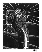 Ecator Lino Print by Wraith-Flametail