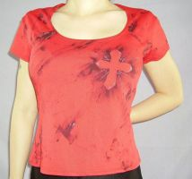 RED TEE WITH CROSS LOGO by FRANTASEE