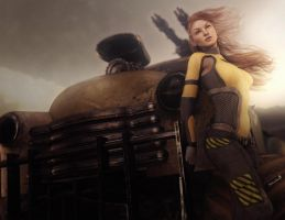Post-Apocalyptic Redhead Girl Pin-Up, 3D-Art by shibashake