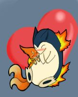 Typhlosion and Floatzel by KillerCandyCane