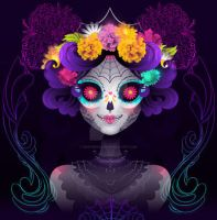 Neon Calavera by marywinkler